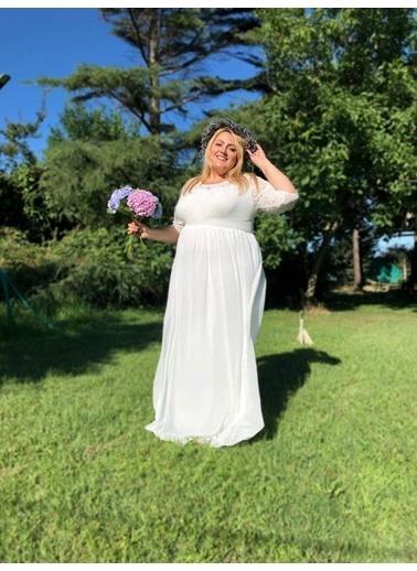 Angelino Butik Büyük Beden Şifon Likralı Uzun Abiye Elbise KL4009K Beyaz